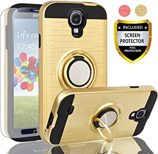 AYMECL Galaxy S4 Case,Galaxy S4 Case with HD Screen Protector,360 Degree Rotating Ring Holder Dual Layer Full-Body Protective Cases Cover for Galaxy S4-ZR Golden