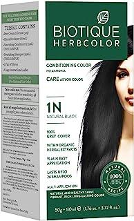 Biotique Bio Herbcolor 1N Natural Black, 50 g + 110 ml (Conditioning Color No Ammonia)