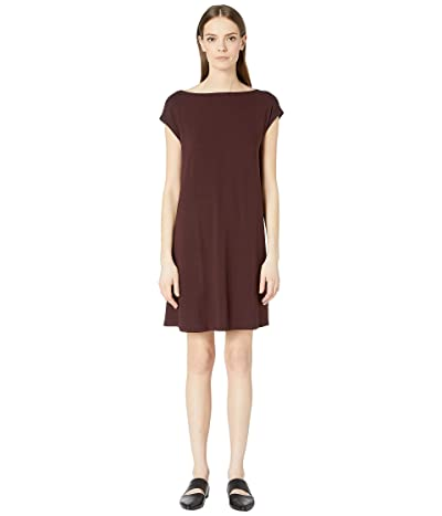 Eileen Fisher Viscose Jersey Back Twist Dress (Cassis) Women