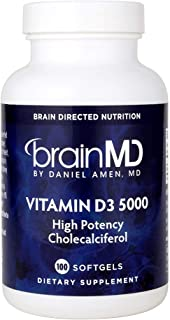 Dr. Amen brainMD Vitamin D3-5000 IU Cholecalciferol, 100 Softgels - Bone & Immune Support Supplement, Promotes Healthy Circulation & Mood Management - Gluten-Free - 100 Servings