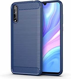 for Huawei P Smart S Case Brushed Carbon Fiber Texture Style Ultra-thin TPU Soft rubber Anti-drop Protective Cover-Blue