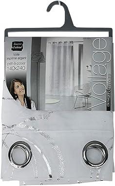 douceur d'intérieur 1623655 Panneau à Oeillet Voile Imprimée Argent/Blanc 140 x 240 cm