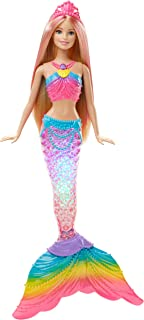 Barbie Dreamtopia Poupée Sirène Arc-en-Ciel Blonde Couleurs et Lumières à Plonger dans l'eau, avec Piles Incluses, Jouet p...