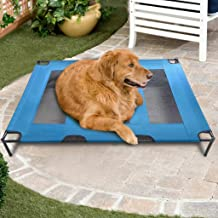Pet Dog Bed Breathable Cooling Elevated Pet Cot Bed Detachable Portable Camp Dog Bed for Small, Medium, Large, Extra Large All Breeds (48.0 x 35.8 x 6.3 inches, Blue)