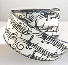 Wire Edged Chorus Ivory and Black Music Note Thick Ribbon 2 1/2