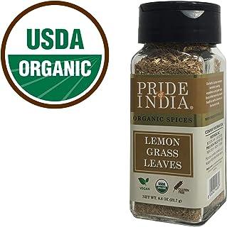 Pride Of India - Lemongrass orgánico cortado fino y tamizado - Tarro de tamiz doble pequeño de 0.8 oz (22.7 gm) - Hierba india auténtica y pura certificada