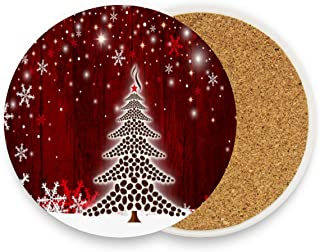 Christmas Tree Drink Coasters Mats Pack of 4, Snowflake Winter Cup Mat Non Slip Hot Pads for Drinks Coffee Mug Glass Place Pad for Kitchen Bedroom Home Office Decor