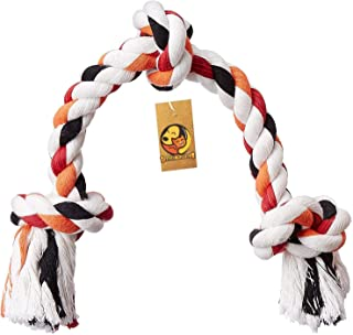 Foodie Puppies Cotton Rope Bone Dog Chew 3 Knots Toy (Colour May Vary, 17-inch)