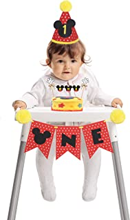 Mickey Mouse highchair Banner-Mickey Mouse Clubhouse Party Supplies-Mickey Mouse 1st Birthday hat-Mickey Mouse hat-Mickey Mouse Cake Topper-Mickey Mouse Cake Decorating kit-Mickey Mouse Decorations