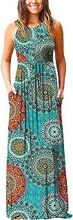 COPPEN Women Dresses Sleeveless Suspender Flower Printed Bohemia Long Dress Sundress