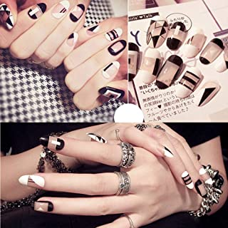 MISUD Oval False Nails Chic French Nail Irregular Geometric Transparent Space Pattern Design Press-on Full Cover Fake Nails
