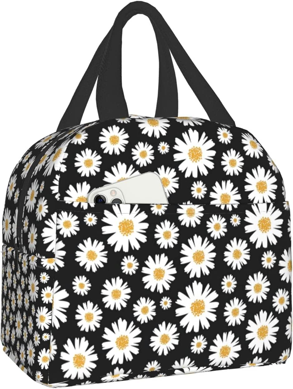 Daisy Lunch Bag for Women Girls Cute Insulated Tote Reusable Collapsible Waterproof Black Lunch Box Apply to Travel Work Hiking Picnic