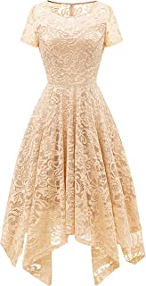 Women's Elegant Short Flare Sleeves Floral Lace Asymmetrical Hanky Hem Cocktail Party Bridesmaid Dress