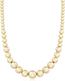 Ross-Simons Italian 6-14mm 18kt Gold Over Sterling Silver Graduated Bead Necklace
