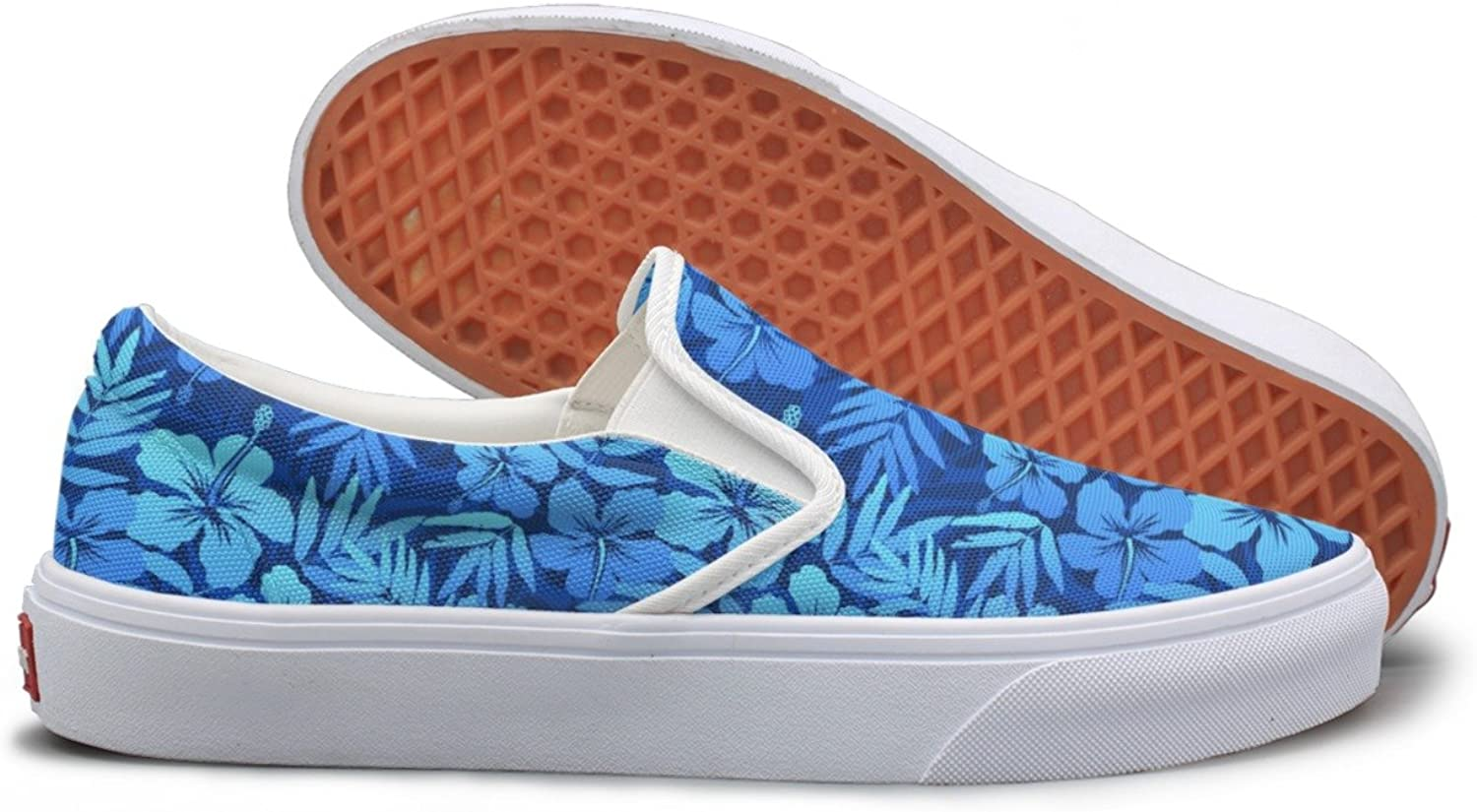 bluee Tropical Flowers Slip On Canvas shoes For Women Wide