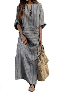 MAGIMODAC Womens Linen Cotton Dress Long Sleeve Maxi Dresses Plus Size Loose AU 8 10 12 14 16 18 20 22