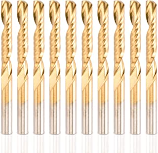 HQMaster CNC Router Bits, 10 Pack Spiral Router Bit Set Titanium Coated End Mill 1/8 Shank Single 1 Flute Milling Cutter Engraving Cutting Tool 22mm CEL, 38.5mm OAL for Acrylic Wood Plastic PVC MDF