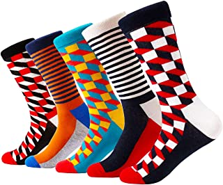 Mixsense Mens Dress Funky Colorful Design Socks For Men Cotton Crew Socks 5 Pack