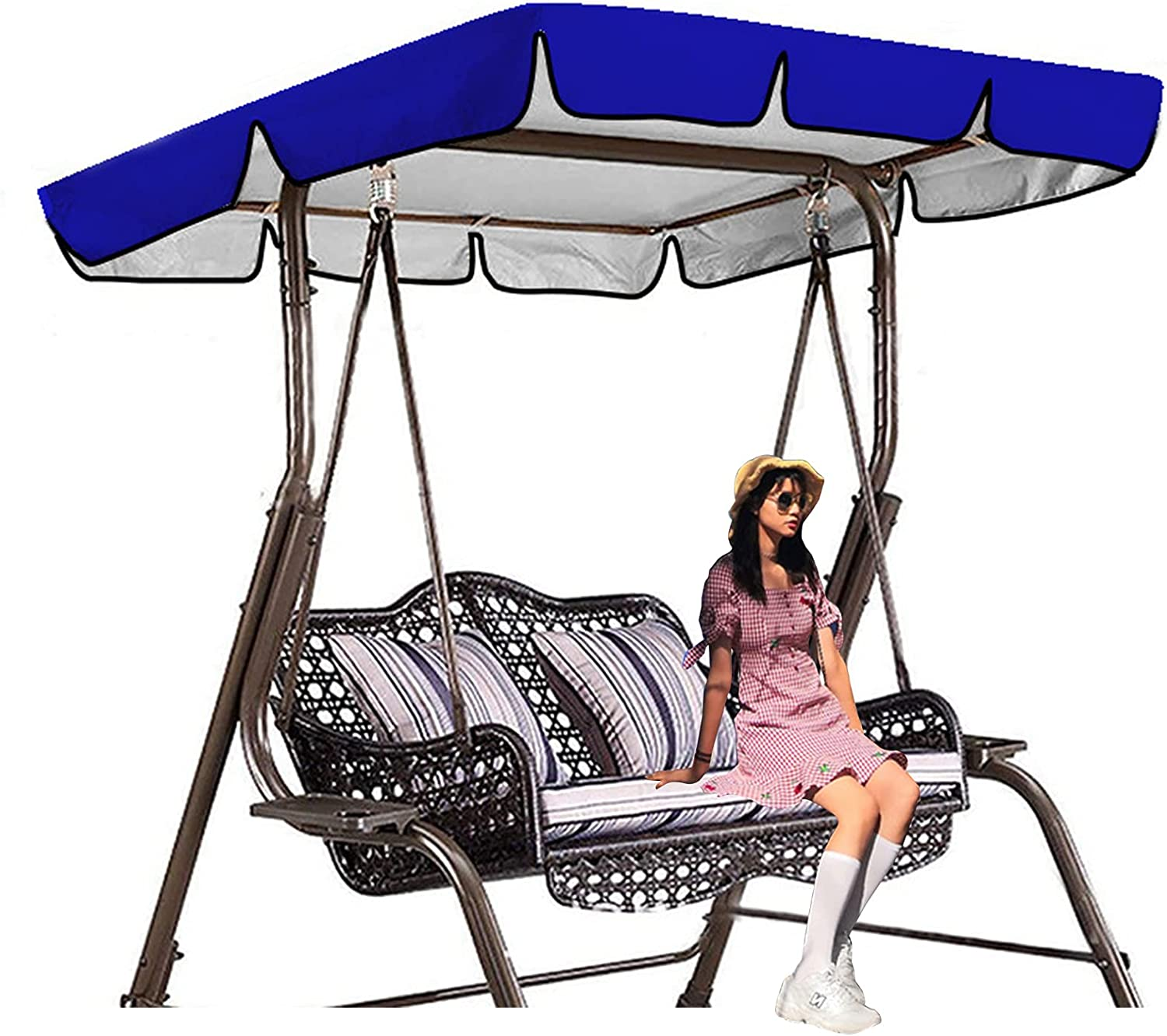 DFWYG 2021new shipping free Swing top Replacement Canopy Waterproof 2021 autumn and winter new for Swin Sunshade