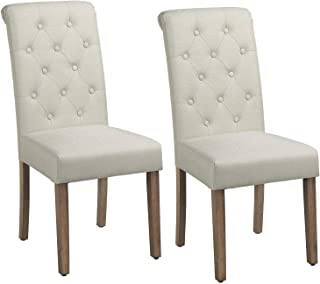 Yaheetech Solid Wood Dining Chairs Button Tufted Parsons...