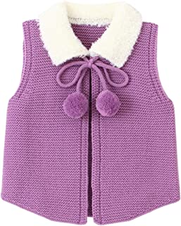 Xifamniy Infant Unisex Babies Knit Coat Fur Collar Lacing Lapel Cardigan Sleeveless Vest