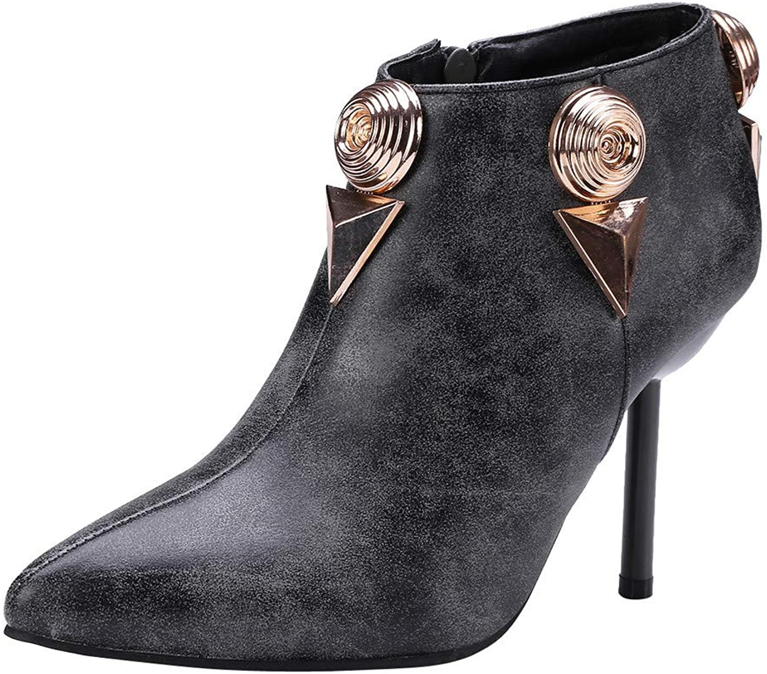 RedBrowm-women Boots Pointed Stiletto High Heel shoes Metal Buckle Side Zipper Boots