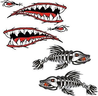 Perfk 4 Pieces Large Vinyl Fish Skeleton & Shark Teeth Mouth Sticker Decals, Kayak Boat Fishing Dinghy Motorcycle Car Bump...