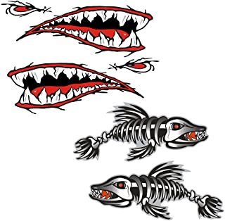 4 Pieces Skeleton Fish Shark Mouth Canoe Kayak Decals Fishing Boat Graphics