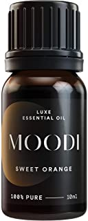 MOODI PURE Sweet Orange Essential Oil – Ancient Sacred Cold Press Extraction Methods – Best Citrus Aromatherapy Oils for Diffusing, Itch, Bug Bites, Indigestion, Circulation & DIY Cleaning (10ml)