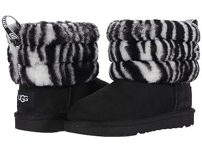 UGG Kids Fluff Mini Quilted Zebra (Toddler/Little Kid) (Black/White) Girls Shoes