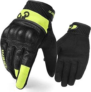 INBIKE Motorcycle Gloves, 3mm EVA Palm Pad Motorbike Gloves Full Finger Black&Green X-Large