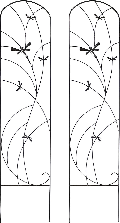 Sunnydaze 2-Piece Dragonfly Delight Design Garden Trellis for Climbing Outdoor Plants Set - Decorative Metal Garden Plant and Flower Trellis - 55-Inch Tall Each - Black