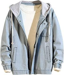 Denim Jacket Men's Autumn Winter Cute Sweatshirts Hooded Vintage Wash Distressed Denim Jacket Coat Top Blouse