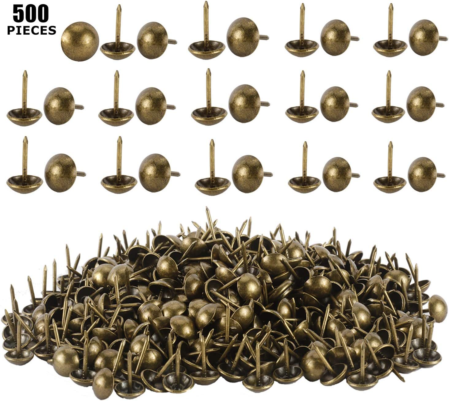 YaeCCC 500 Pcs Antique Save money Brass Finish Gifts Furniture Upholstery Nails