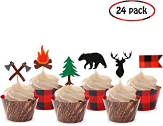 Camping Cupcake Toppers Wood Grain Buffalo Plaid Wrappers Woodland Theme Party Decoration Supplies(24 Pack)