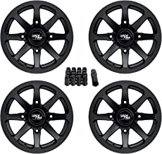 RockTrix RT102 14in ATV Wheels 4x156 Rims | 14x7 | 4+3 Offset | Includes 3/8x24 Spline Lug nuts | Compatible with Many Polaris Sportsman RZR Ranger UTV | 4/156 | Set of 4