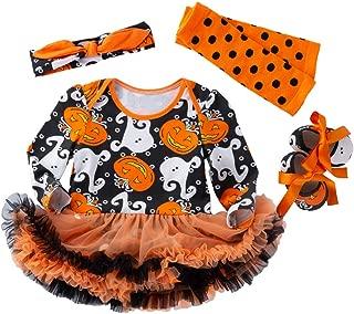 Pumpkin Costume Baby Girl Halloween Tutu Lace Skirt Romper Headband Leg Warmer Shoes Set