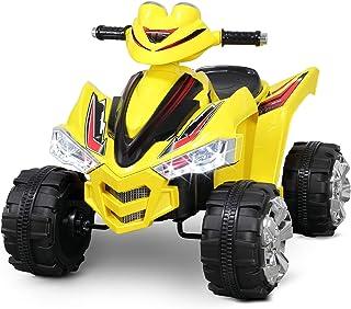 Kidzone Kids 12V Ride On ATV 4 Wheeler Battery Power Electric Car for Toddlers Boys & Girls LED Headlight ASTM F963 Certified, Yellow