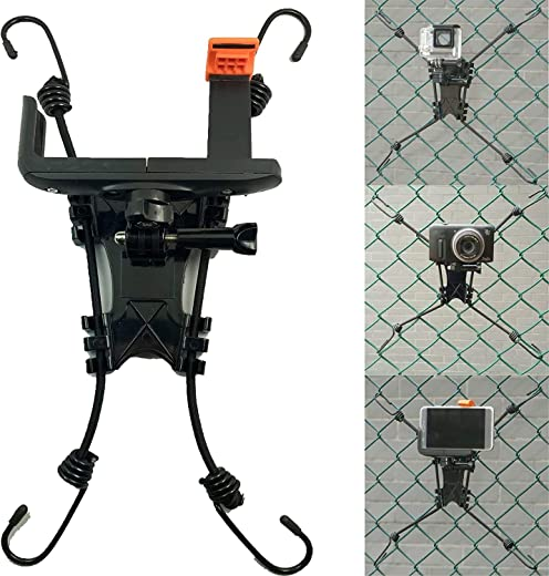 Pmsanzay 3 in 1 Universal Action Camera Backstop Chain Link Fence Mount for Action Camera/Digital Camera/Smartphone-Ideal Backstop Camera Mount for Recording Baseball,Softball and Tennis Games