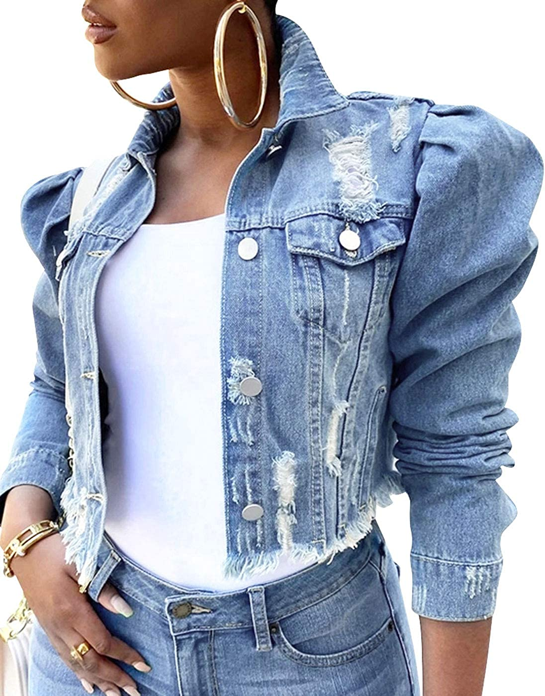 PICK YOUR LOOK Women's Denim Jean Jacket, Long Puff Sleeve Short Cropped Button Down