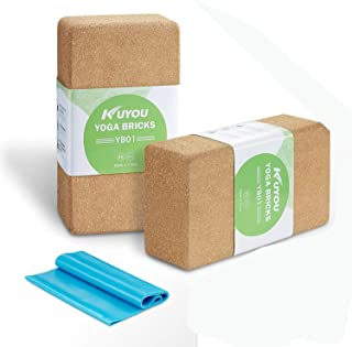 "Cork Yoga Block 2 Pack Plus Strap Cork Yoga Bricks Eco-friendly 9"" x 6"" x 3"" Yoga Exercise Blocks Bricks Set, Starter Kit, Beginners Kit, Any Type of Yoga Styles"