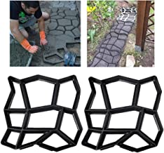 2 Pack Irregular DIY Pavement Mold Walk Maker Path Maker Brick Mold Concrete Form Pathmate Stepping Stone Molds for Concrete Mould Reusable for Garden, Court Yards, Patios and Walks, 13.8 x 13.8inch