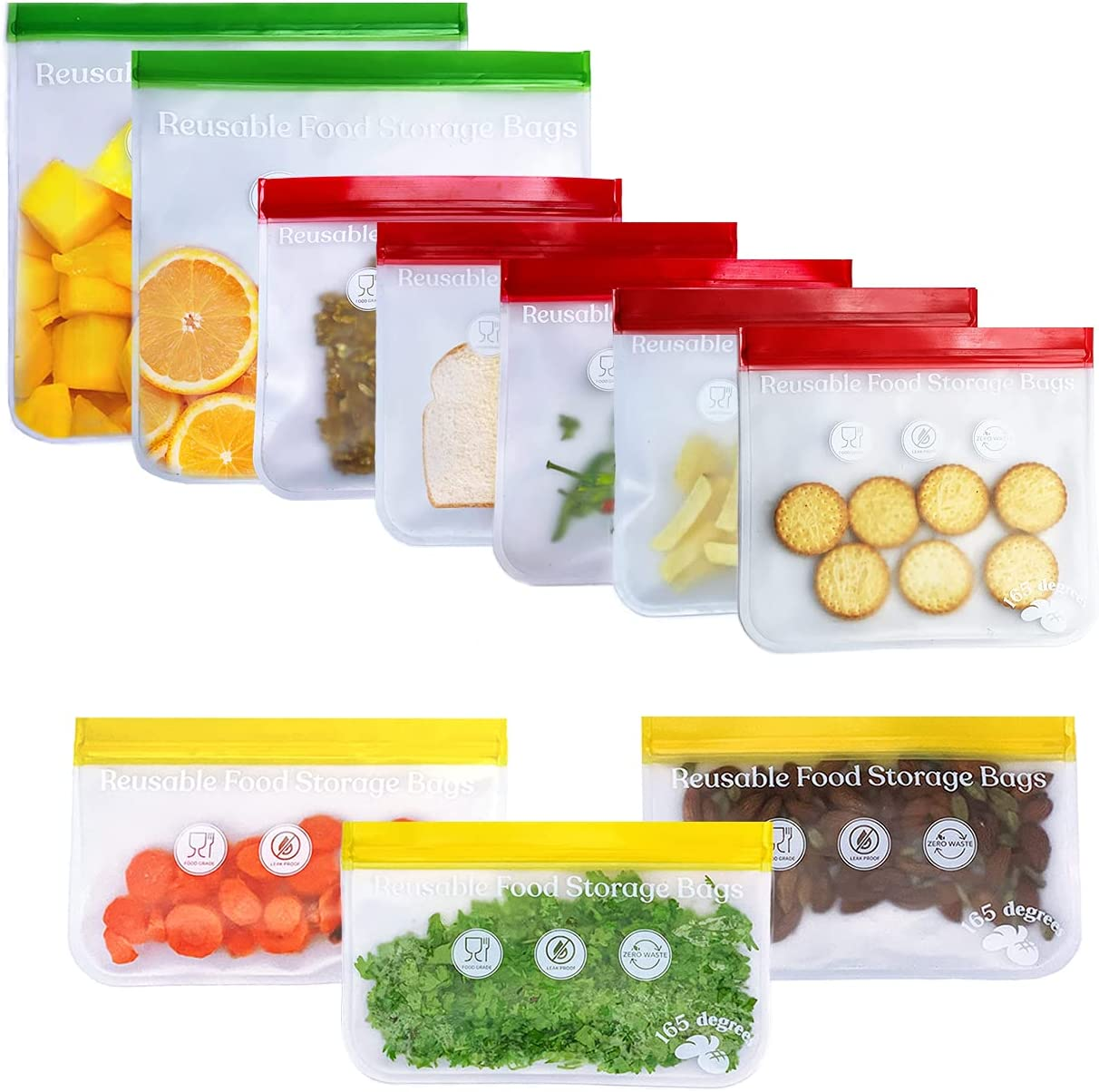 165 Degrees Reusable Silicone Bags, Leakproof Reusable Bags for Food, 10 Pack Reusable Freezer Food Storage Double lock Zipper Bags (5 Reusable Sandwich Bags Red, 3 Reusable Snack Bags Yellow & 2 Reusable Gallon Bags Green)