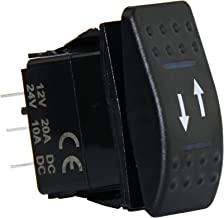U.S. Solid 4 Pin Marine Grade ON-Off-ON/Open-Close/in-Out Momentary Rocker Switch with Blue LED Light and Etched Arrow Symbols DC 12V/20A, 24V/10A from