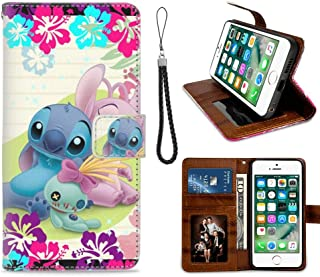 DISNEY COLLECTION Wallet Cover Case Compatible iPhone 8 and 7 [4.7inch] Lilo Stitch Angel Scrump Protect