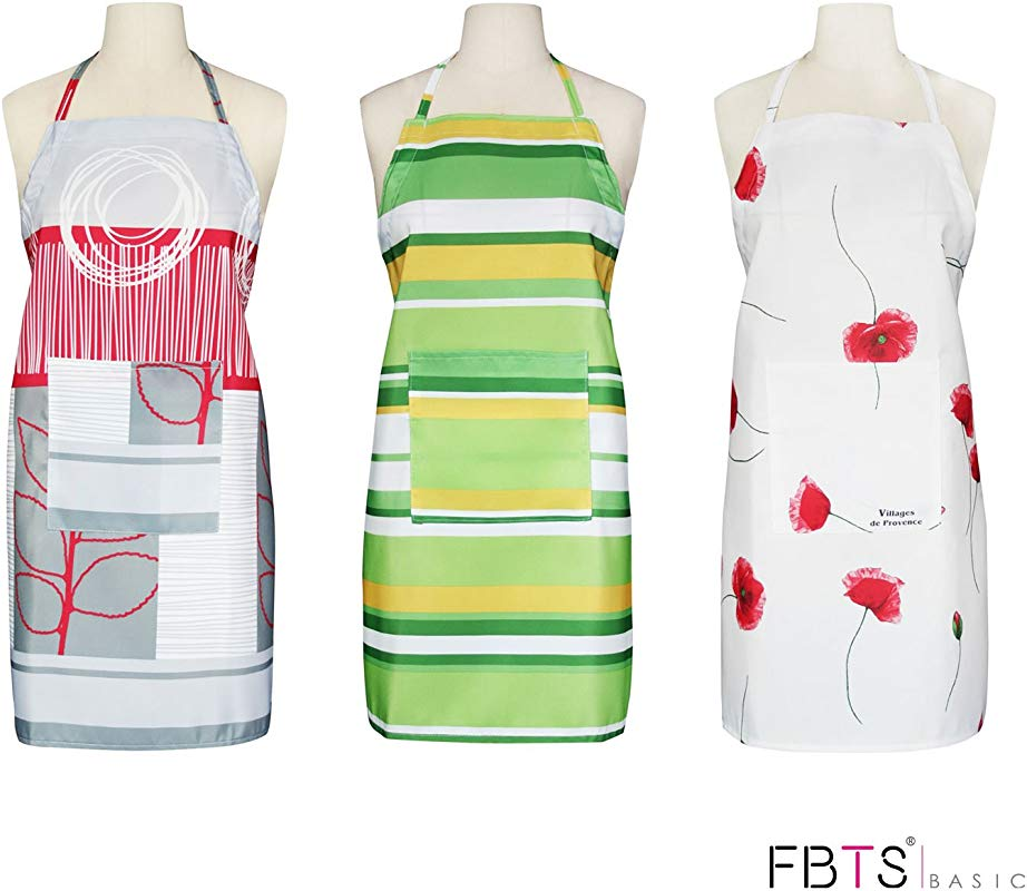 Aprons Set Of 3 Adjustable Height With Front Pocket Water Resistant For Women And Men Durable By FBTS Basic