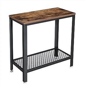 VASAGLE Tavolino in Stile Industriale, Tavolino da caffè con Ripiano a Rete, Comodino, in Soggiorno, Camera da Letto, Corridoio, 60 x 30 x 60 cm, Stretto, Ferro, Vintage LET31BX