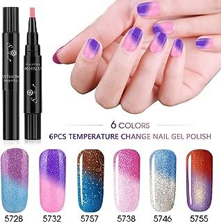 6pcs Color Changing Gel Nail Polish Pen, Saviland Soak Off UV LED Nail Varnish Nail Art Kit