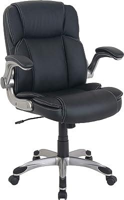 Lorell Soho Flip Armrest Mid-Back Leather Chair, Black