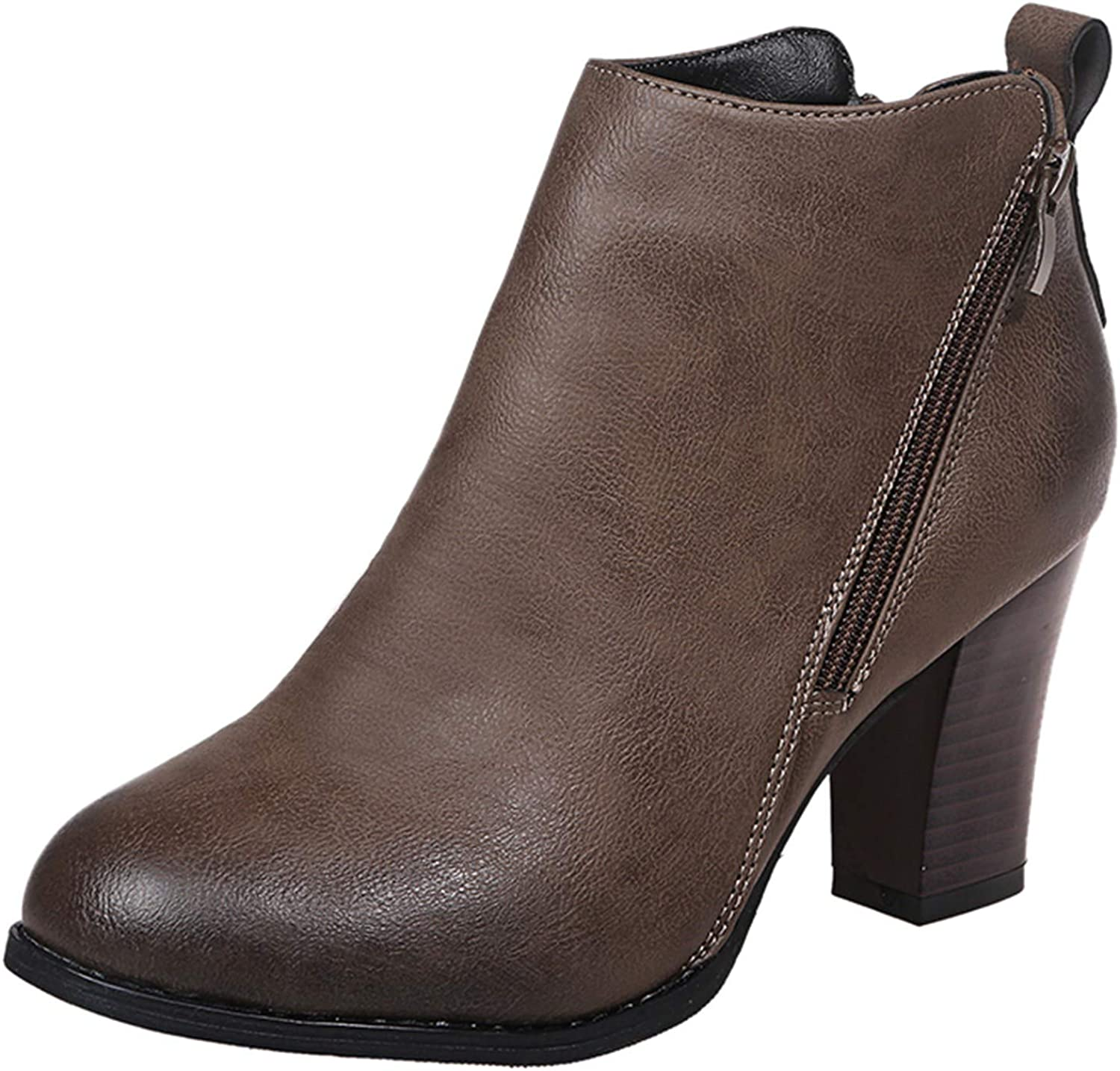 Women Mesa Mall Leather Ankle Booties Slip-On Chunky Retro Bargain sale Stacked Loafers